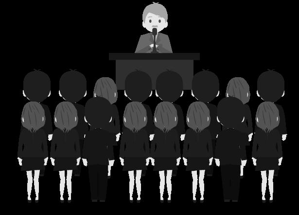 白黒の集会のイメージのイラスト