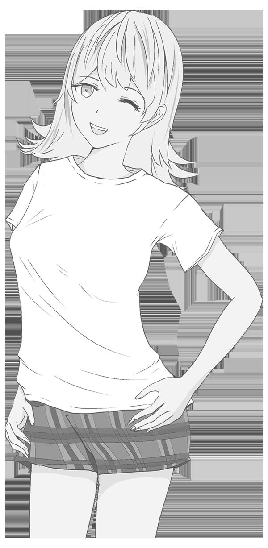 Tシャツモデルのイラスト 白黒