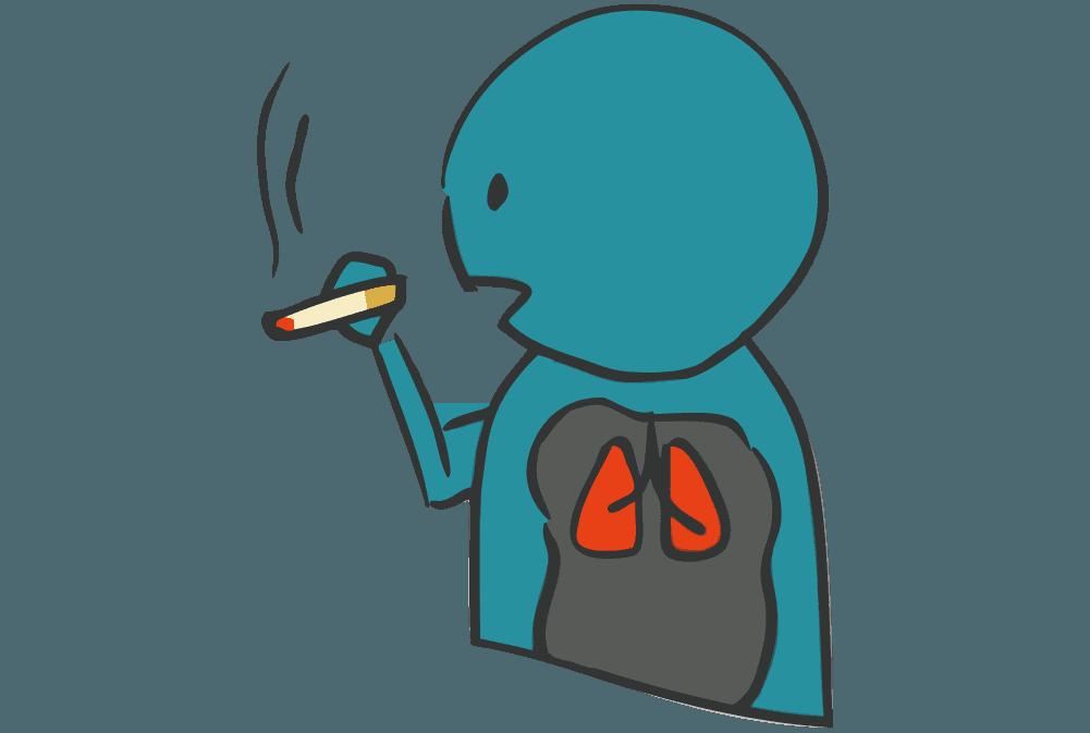 喫煙者と肺のイメージイラスト