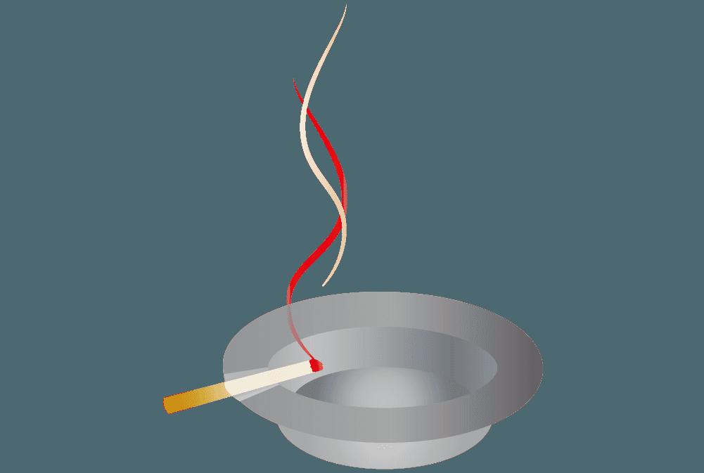 灰皿と火のついたタバコのイラスト