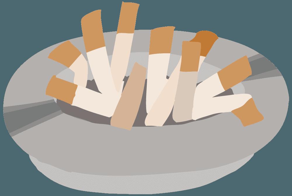 タバコの吸い殻が満杯の灰皿のイラスト