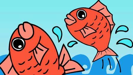 可愛い鯛イラスト - 波の上をジャンプ!お魚の無料素材