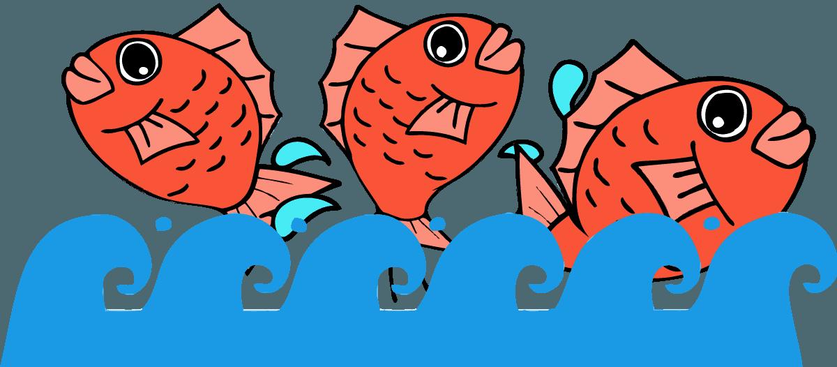 波の上をジャンプする鯛イラスト