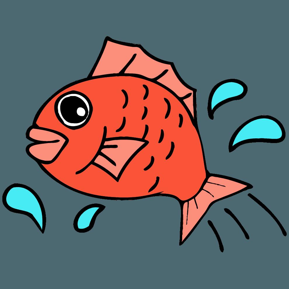 波しぶきと鯛イラスト