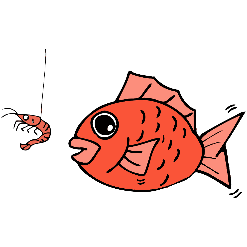 エビで釣られそうになる鯛イラスト