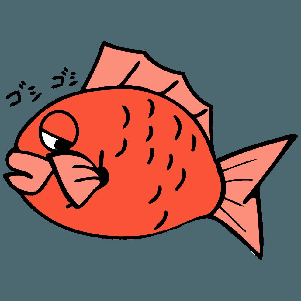 ゴシゴシ目をこする眠そうな鯛イラスト