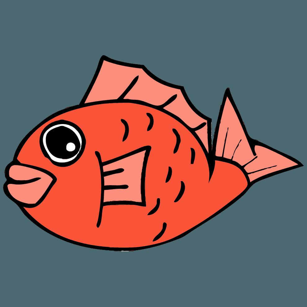 しっぽを曲げる鯛イラスト
