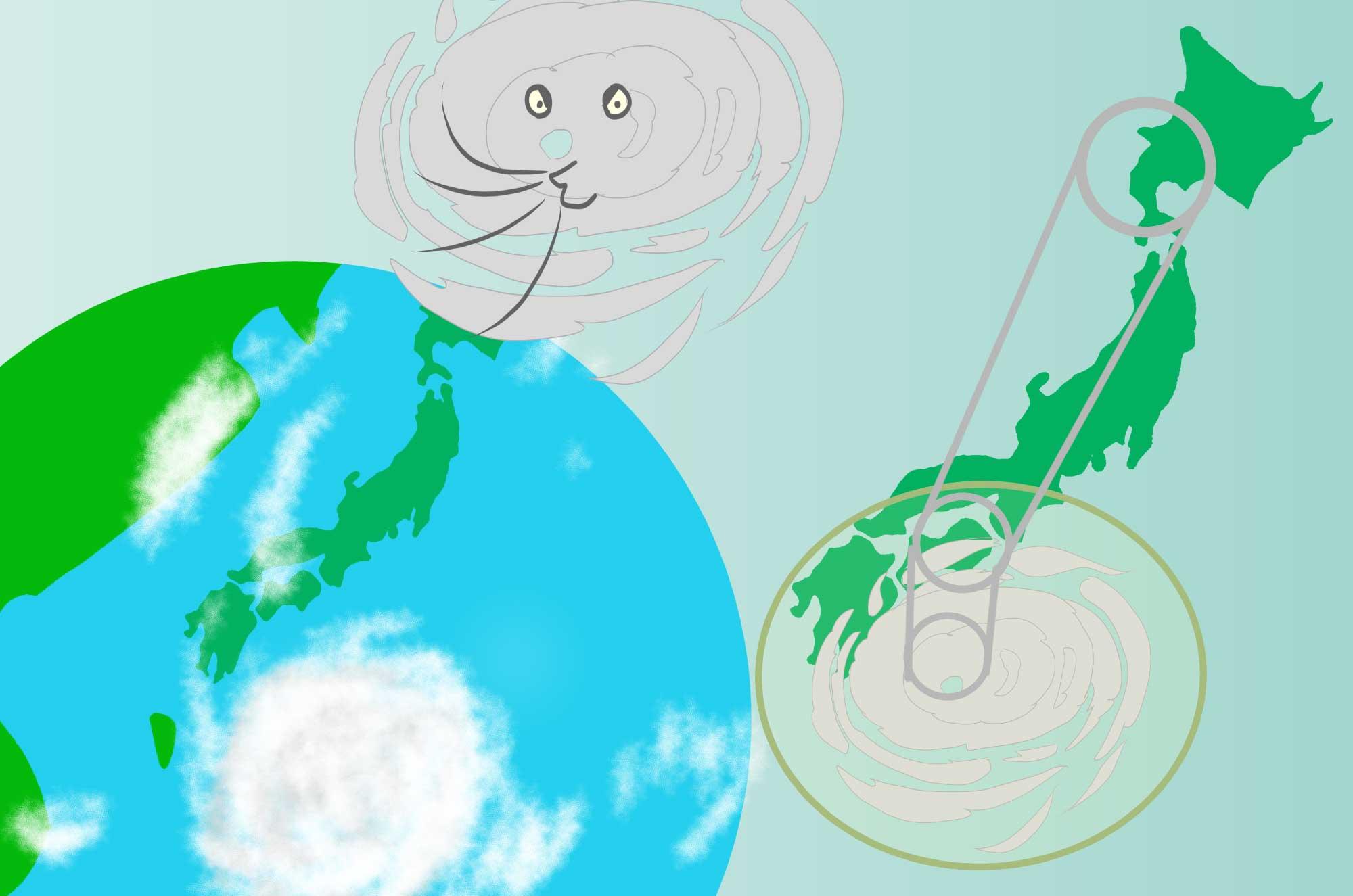 台風のイラスト - 強風・豪雨の渦の自然の無料素材