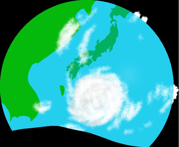 日本列島と台風のイラスト