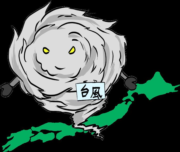 恐ろしい勢力の台風のイラスト