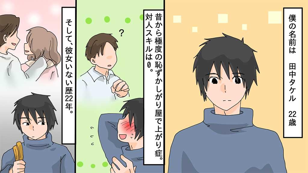 僕の名前は田中タケル 22歳 昔から極度の恥ずかしがり屋で上がり症。対人スキルは0。そして、彼女いない歴22年。