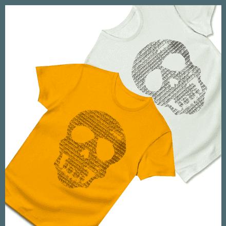 【文字が集まって出来たクールなTシャツ】文字ドクロTシャツ