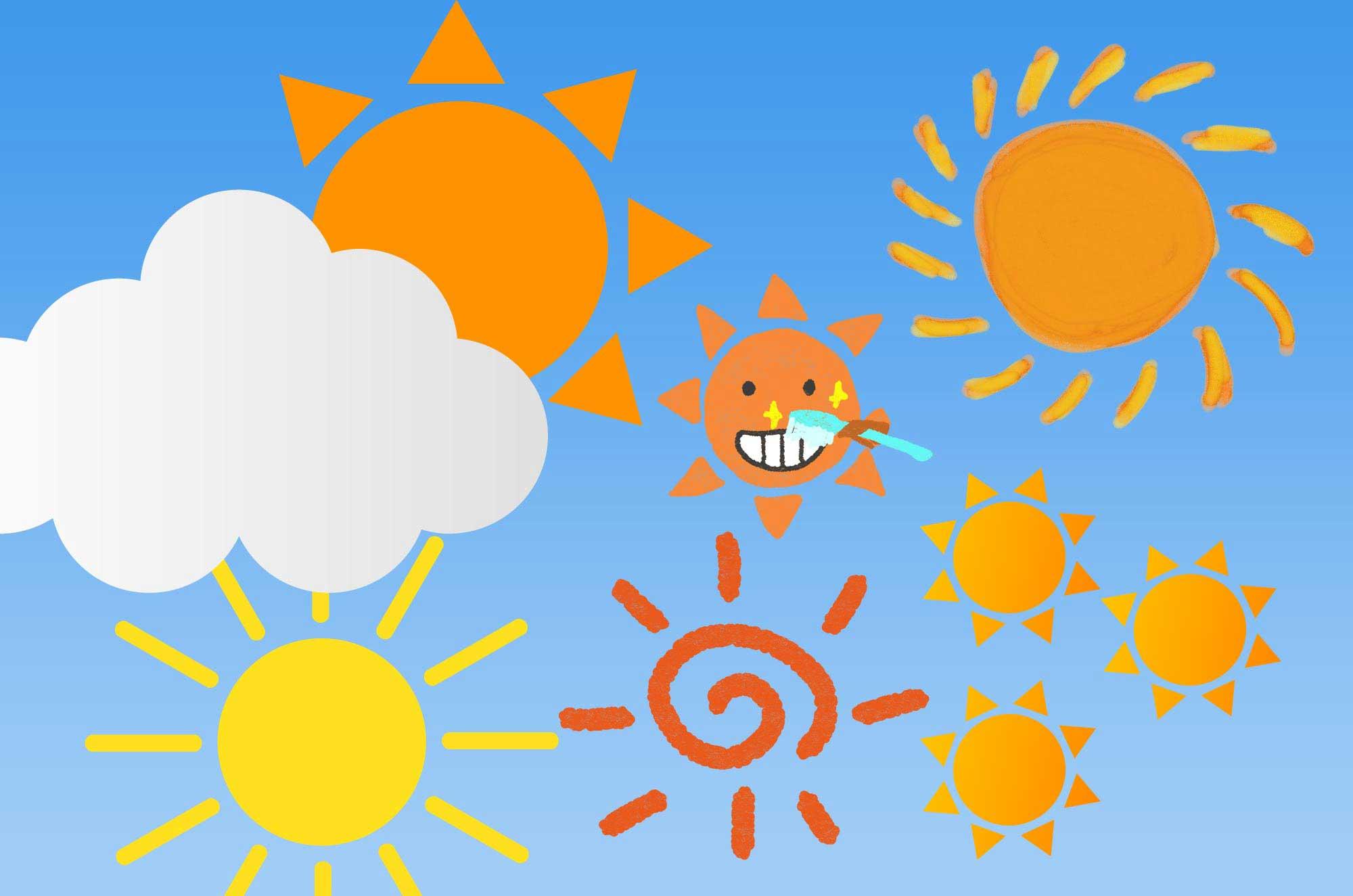 可愛い太陽のイラスト素材!ベクターから手書きまで