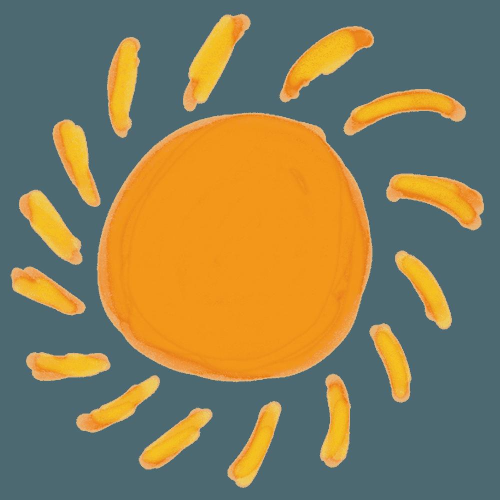 水彩の太陽イラスト