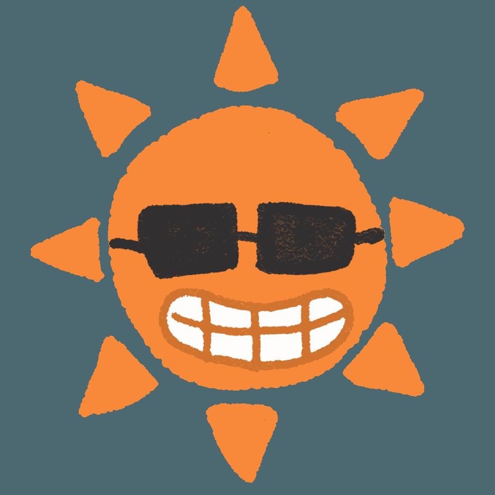 サングラスをかける太陽イラスト