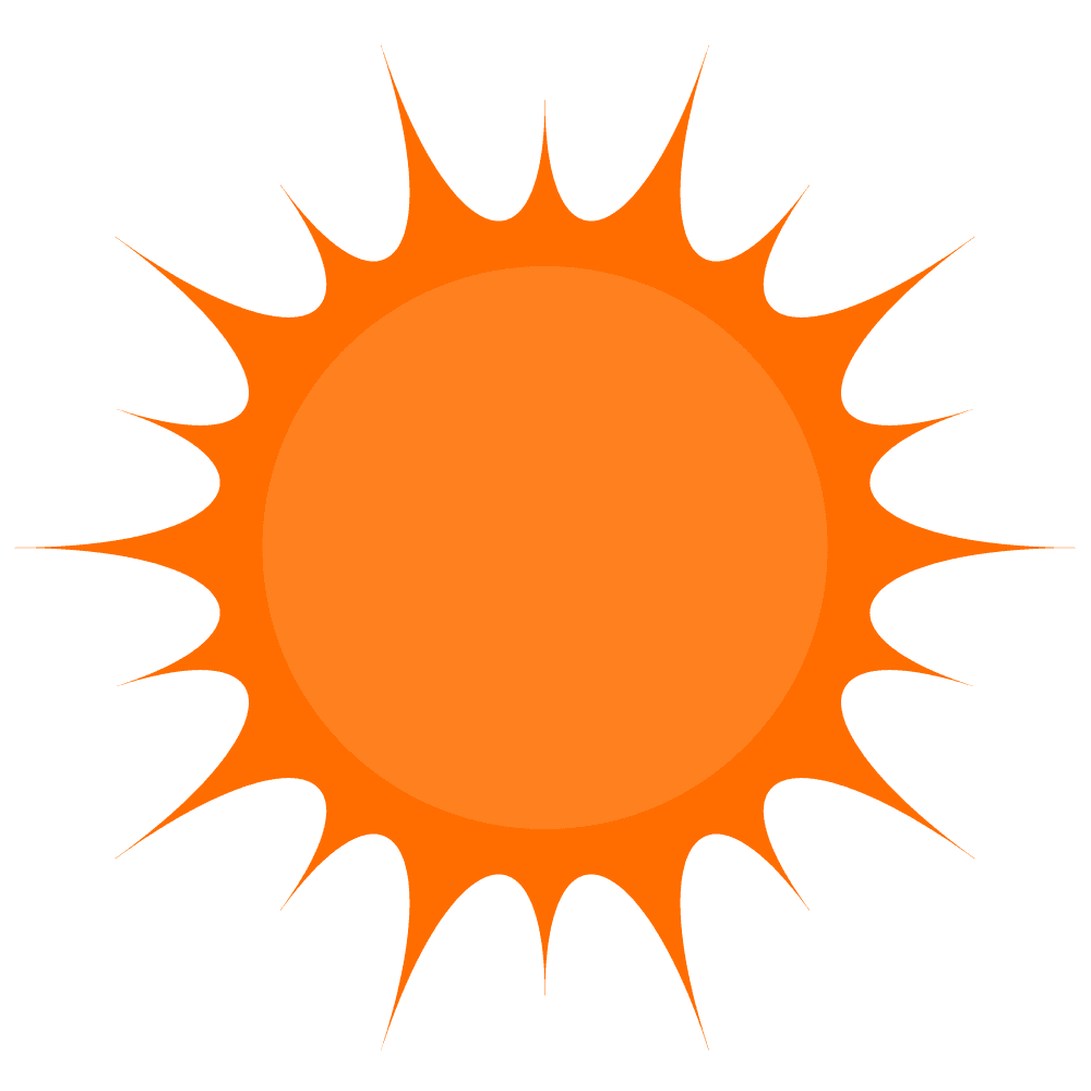 炎が弾ける太陽イラスト