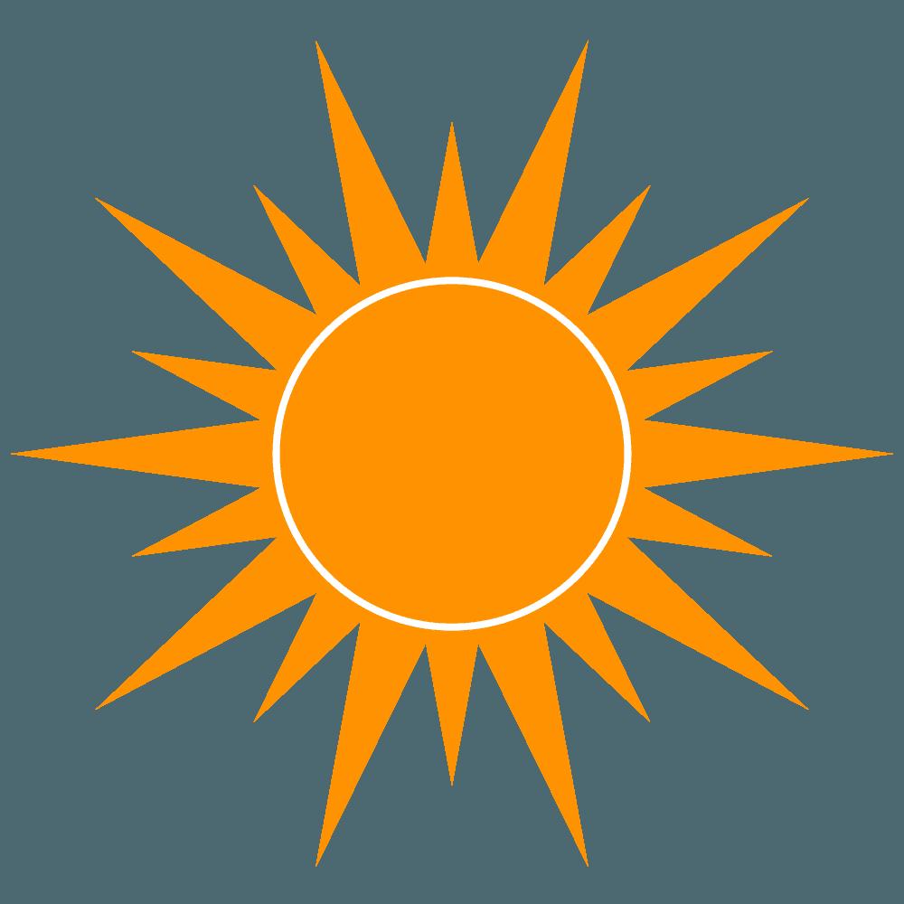 遠くで輝く太陽イラスト