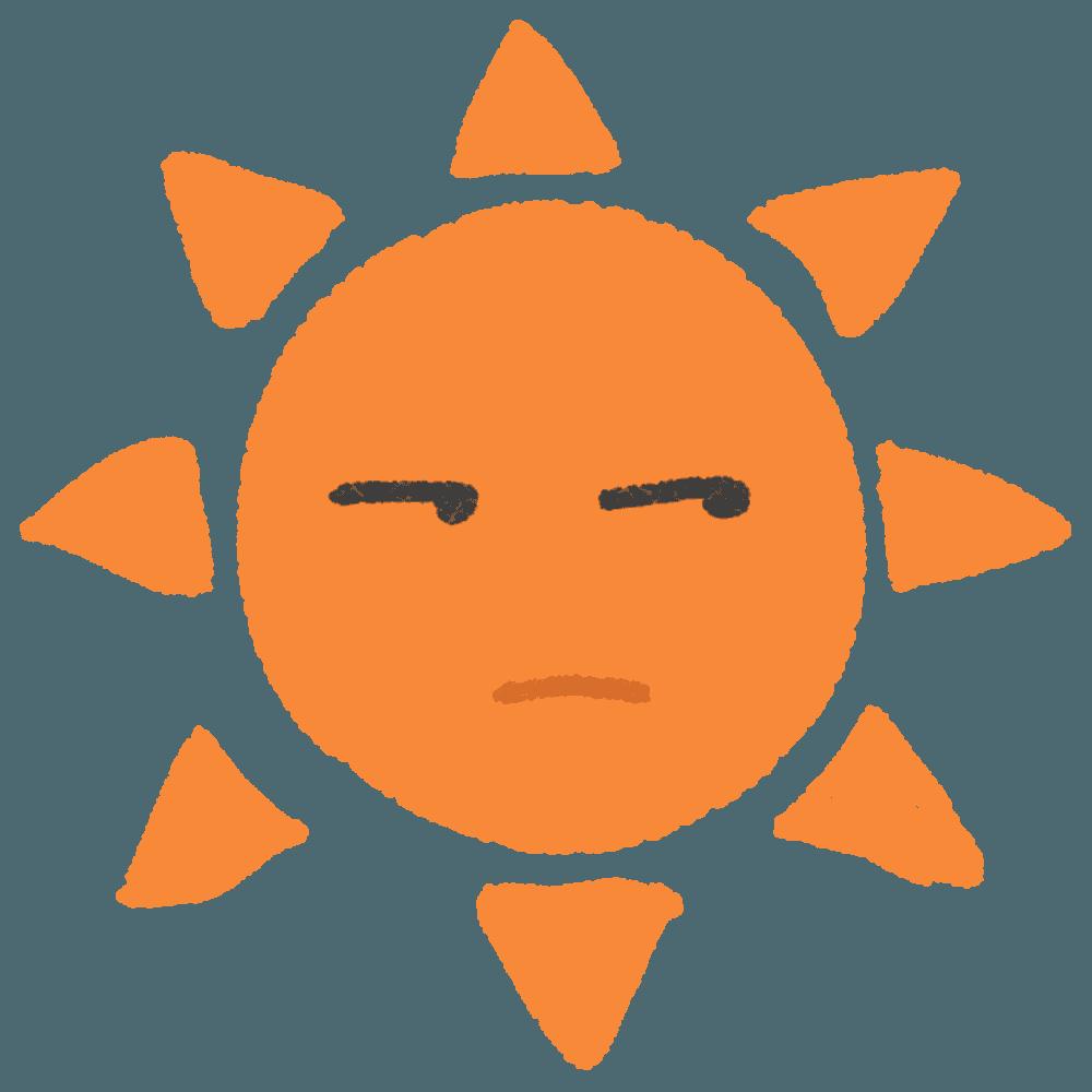 しかめっ面の太陽イラスト