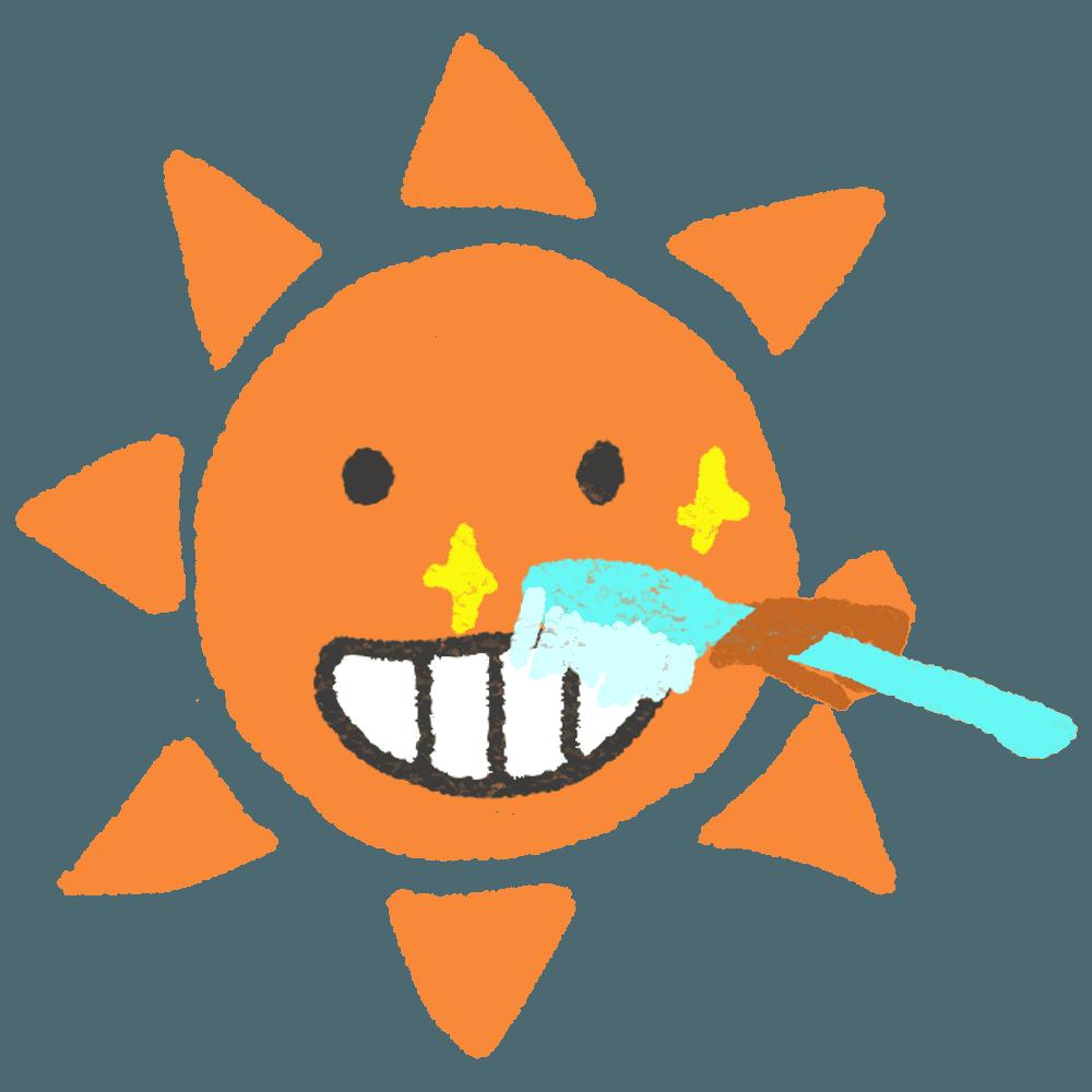 歯磨きをする太陽イラスト