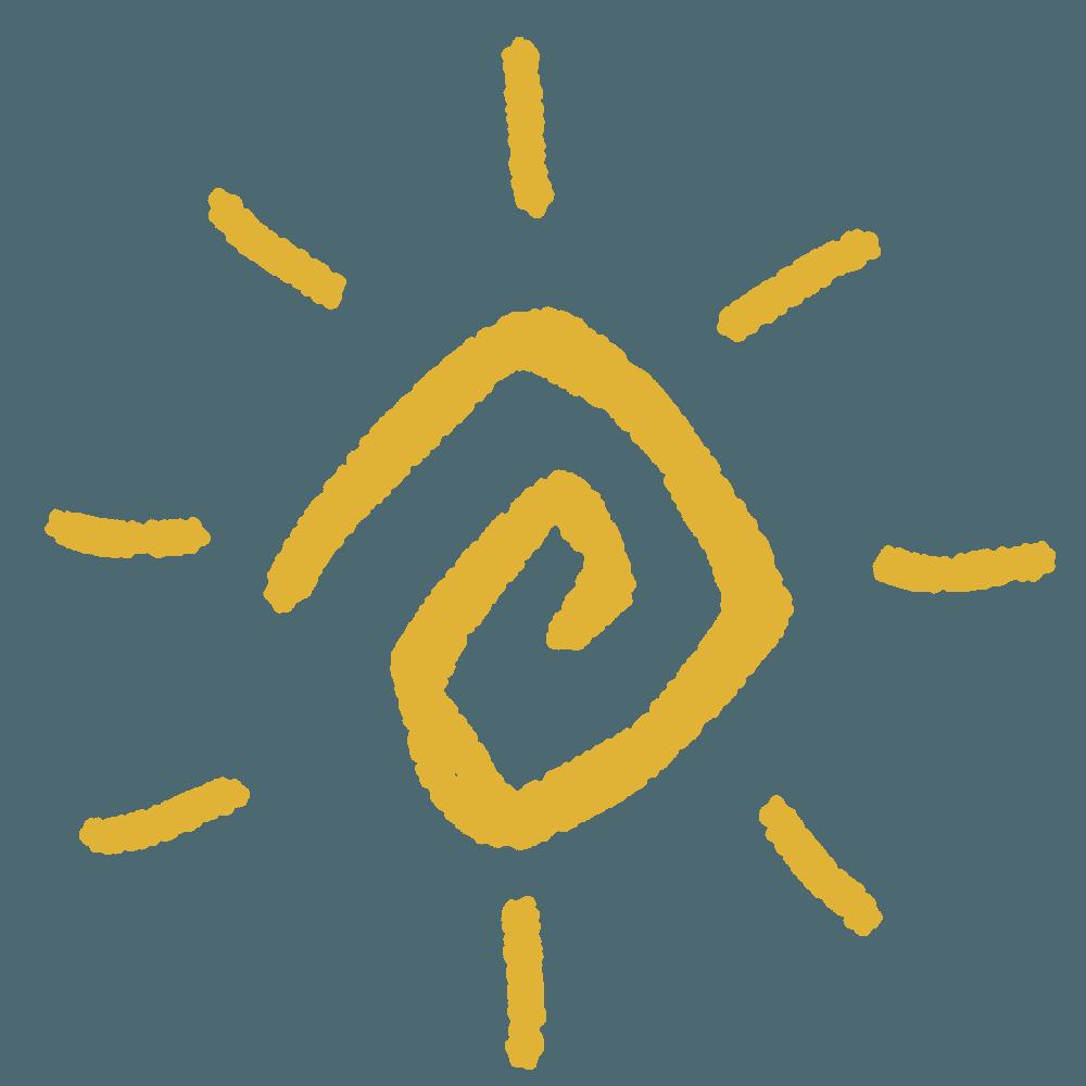 落書きの黄色の太陽イラスト