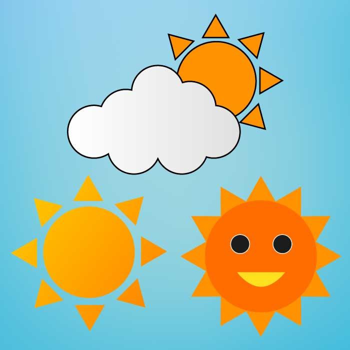 基本の太陽イラストセット