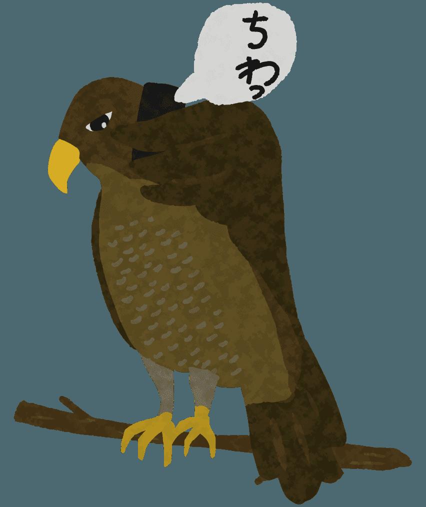 「ちわ」と挨拶する面白い鷹のイラスト