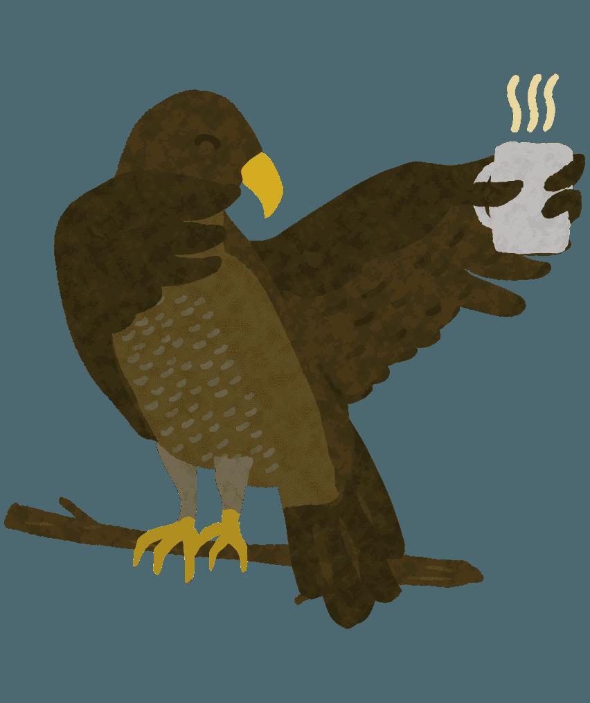 お茶を飲む面白い鷹のイラスト