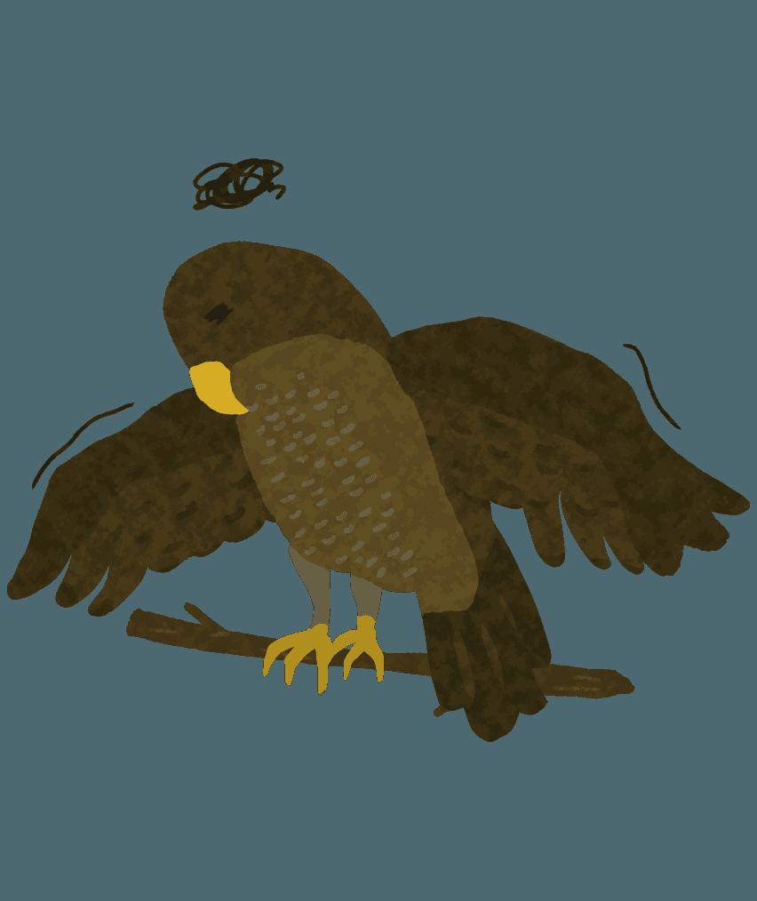 疲れてふにゃふにゃする鷹のイラスト