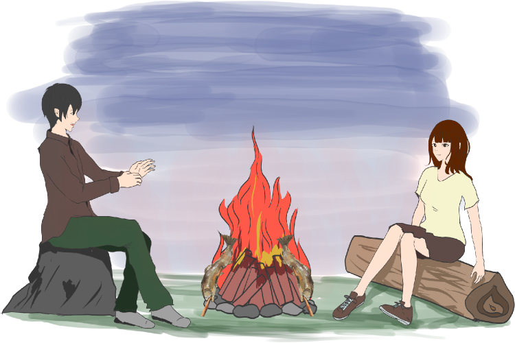 焚き火で暖をとりながら会話するカップルのイラスト