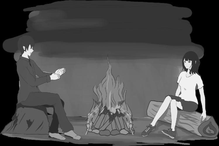 焚き火で暖をとりながら会話するカップルのイラスト(白黒)