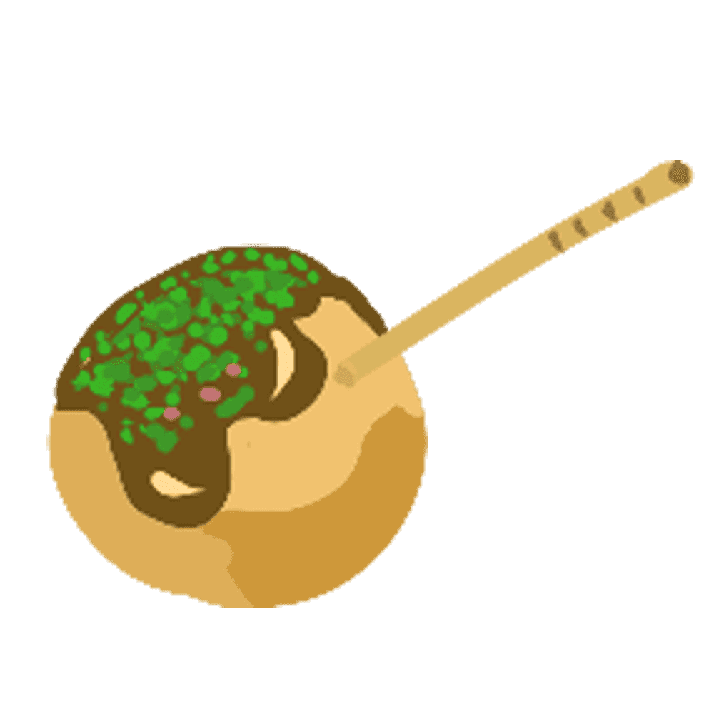 たこ焼きと爪楊枝のイラスト