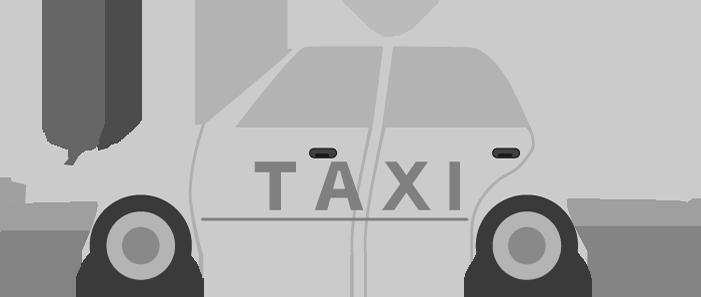 白黒のタクシーのイラスト