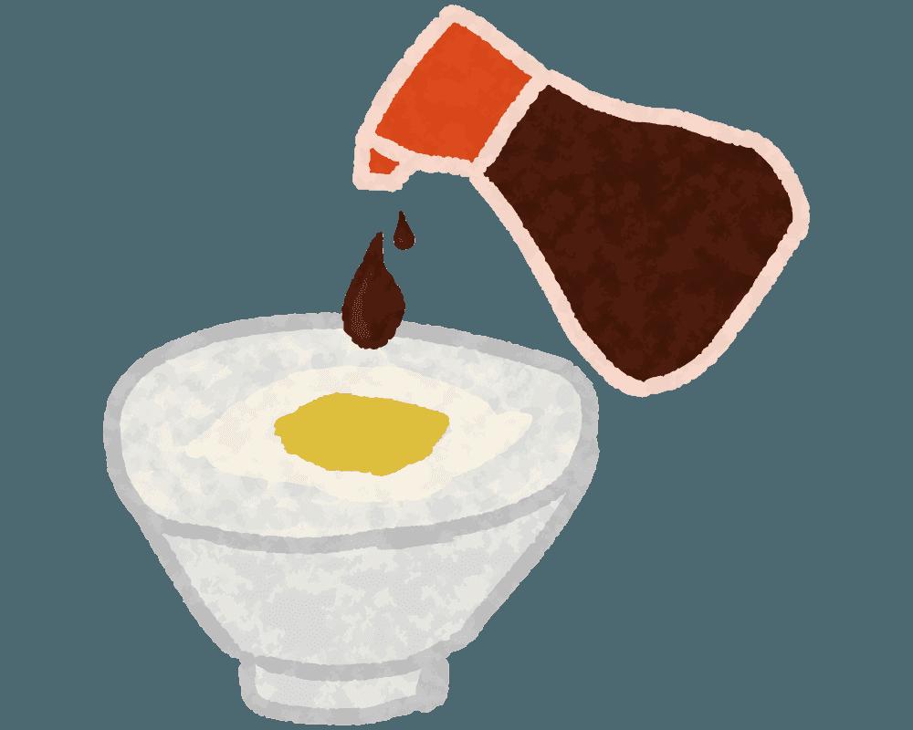 卵かけご飯と醤油のイラスト