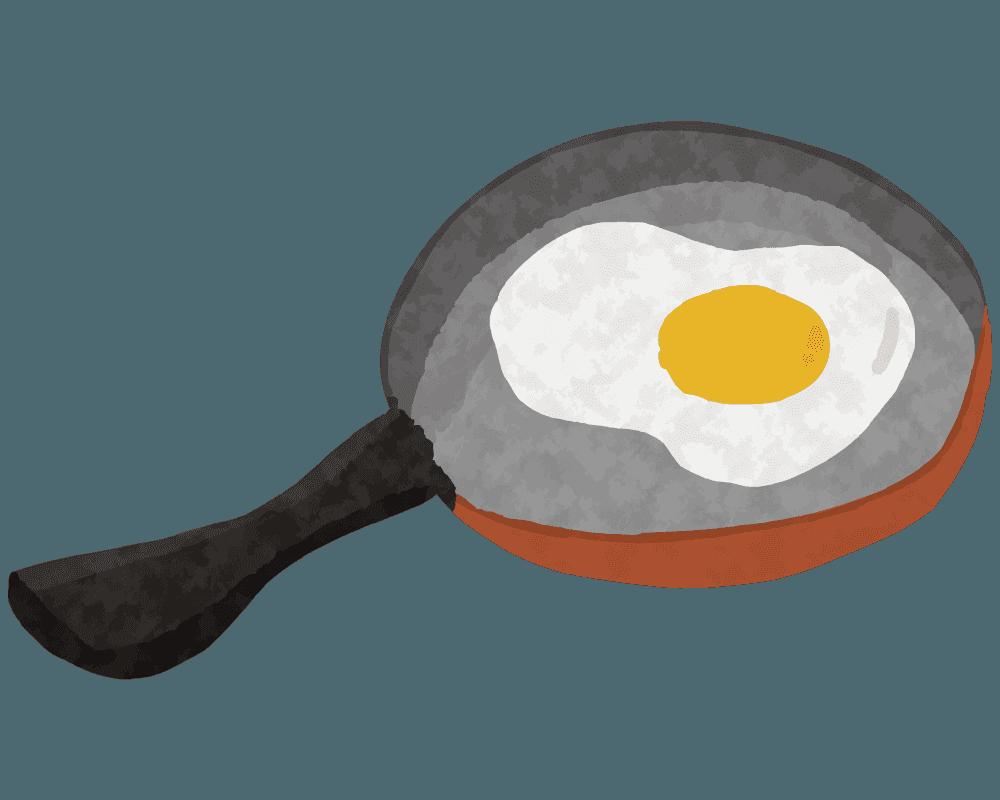 目玉焼きとフライパンのイラスト