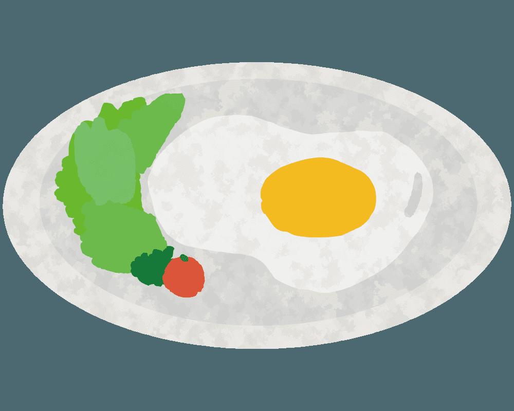 朝食の目玉焼きとサラダのイラスト