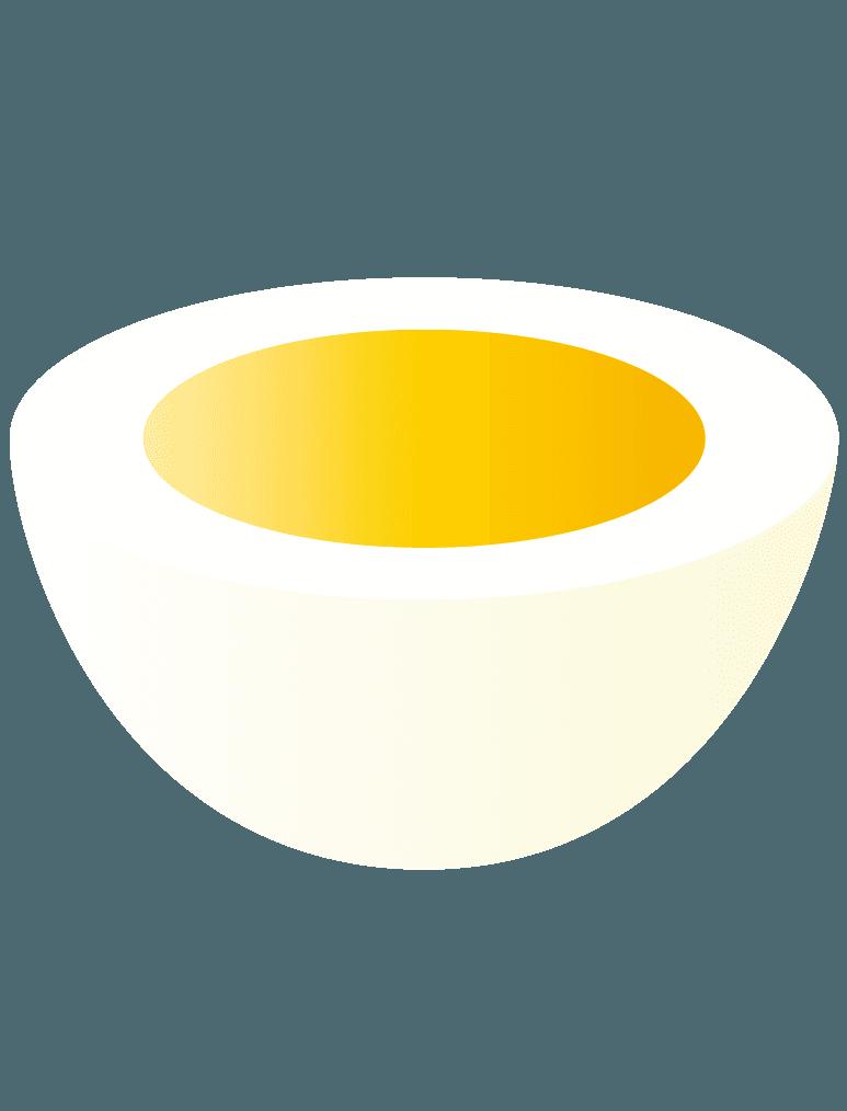 横半分にカットしたゆで卵にイラスト