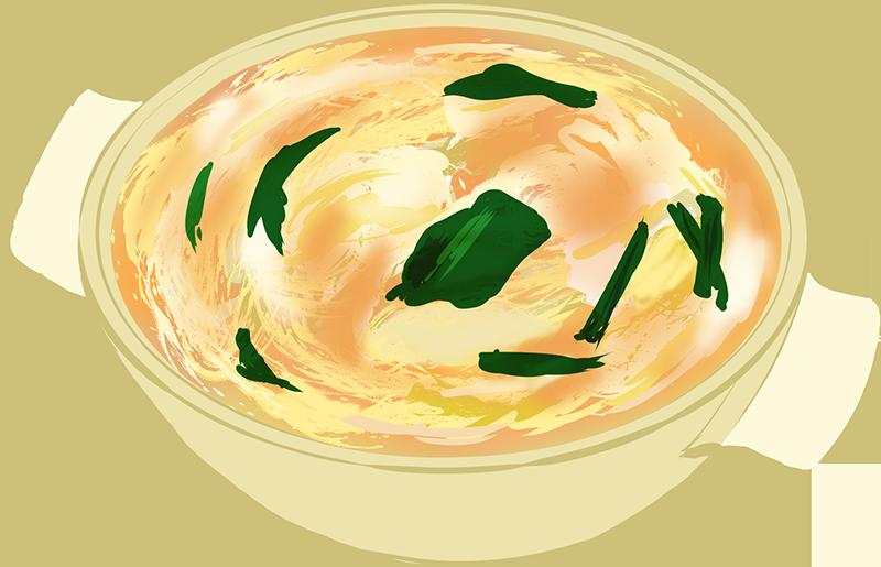 ほうれん草と卵のスープのイラスト