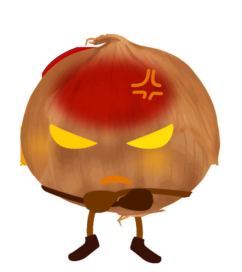 怒る玉ねぎのイラスト