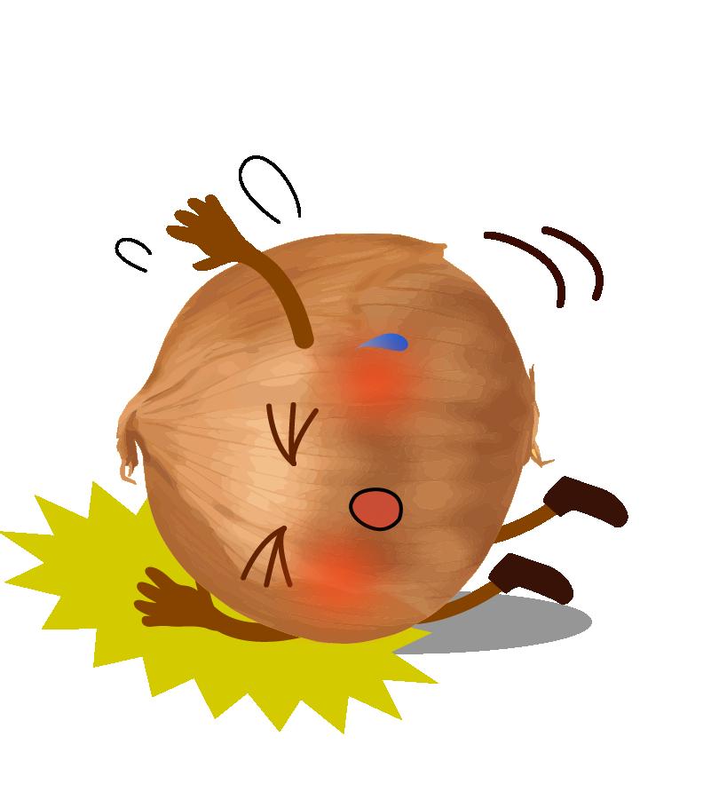 転ぶ玉ねぎのイラスト