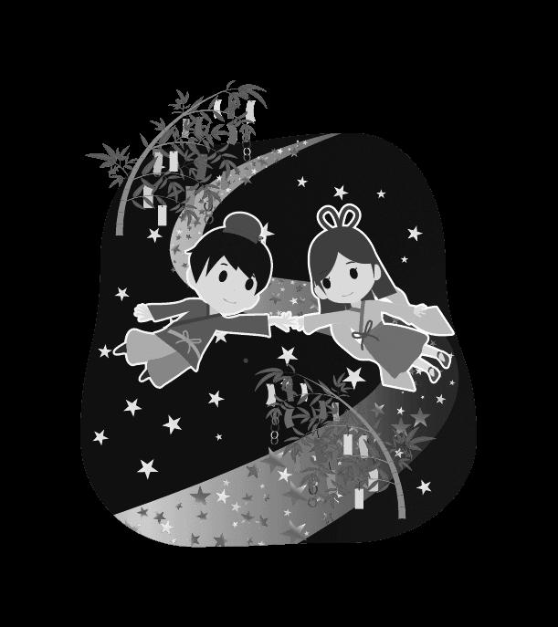 七夕のイラスト(白黒)4