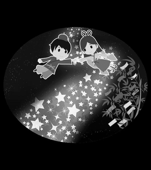 七夕のイラスト(白黒)5