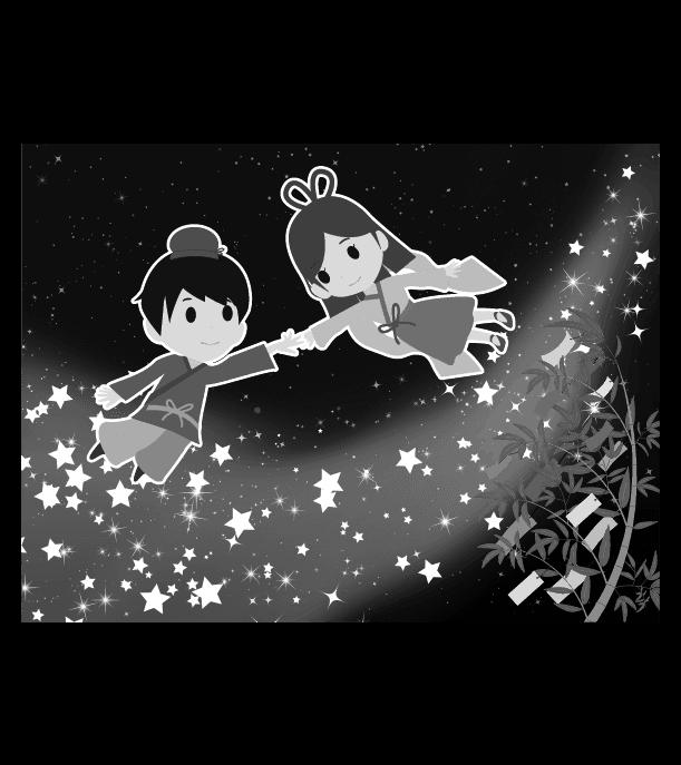 七夕のイラスト(白黒)6