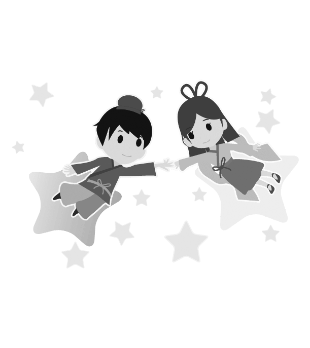 七夕のイラスト(白黒)8