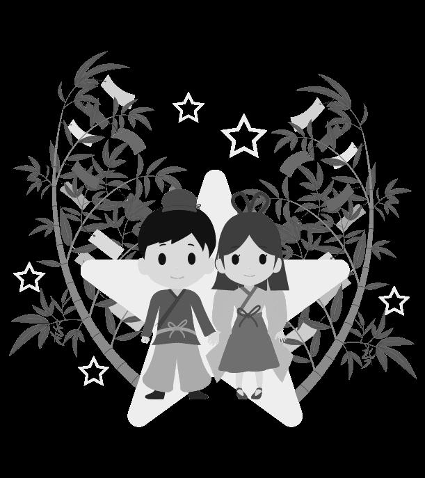 七夕のイラスト(白黒)9