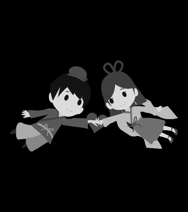 七夕のイラスト(白黒)11