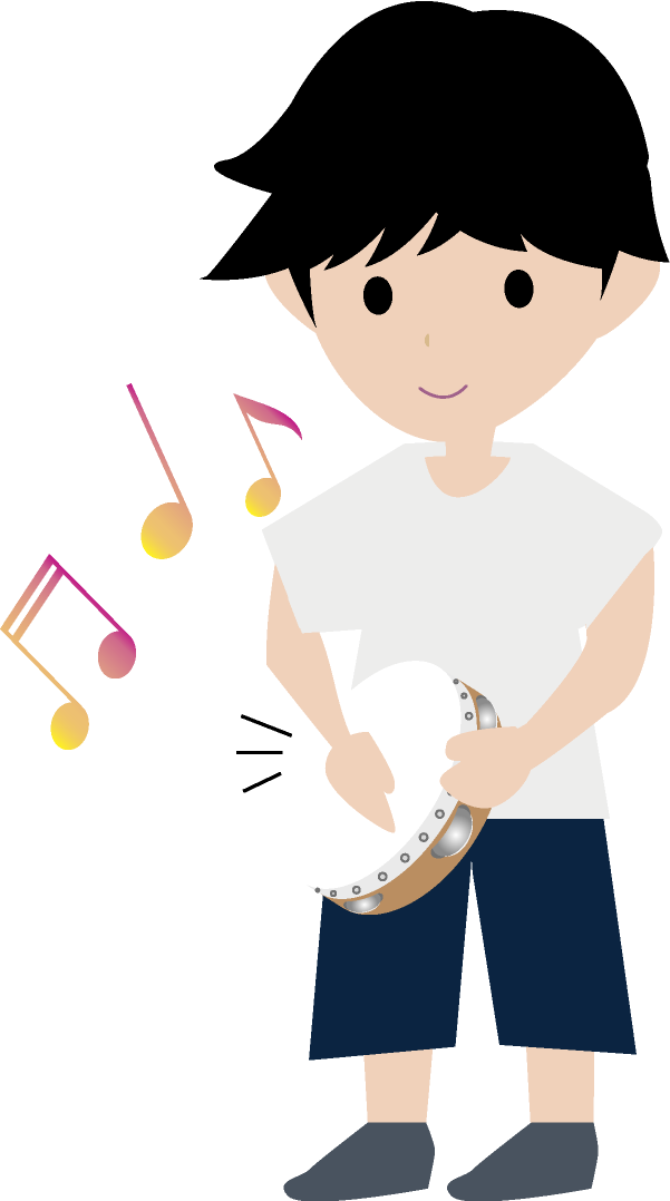 タンバリンを演奏する男の子のイラスト