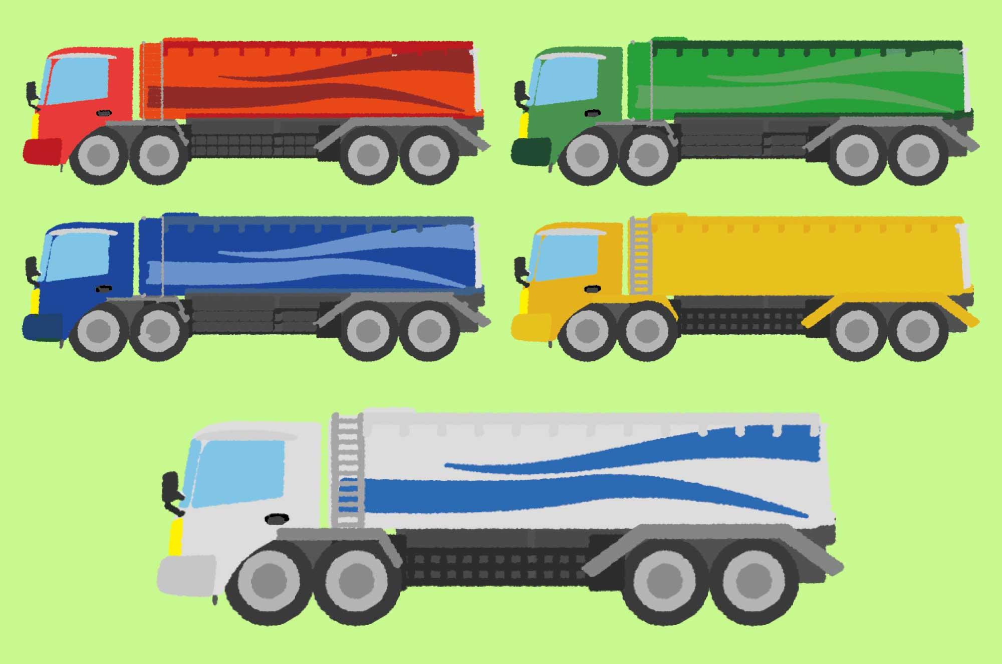 タンクローリーのイラスト - ガソリン・燃料輸送車