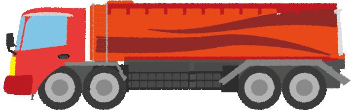 赤いタンクローリーのイラスト