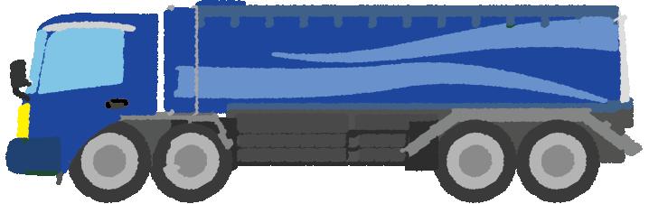 青いタンクローリーのイラスト
