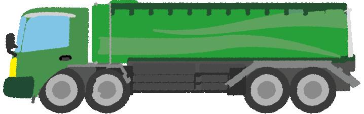 緑色のタンクローリーのイラスト